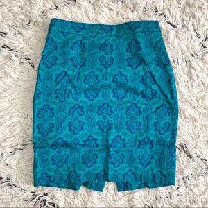 Geometric Teal Pencil Skirt by J. Crew